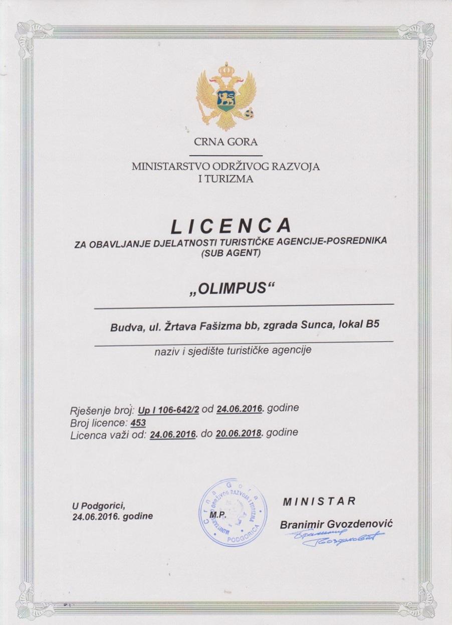 Лицензия на туристическую деятельность в Черногории